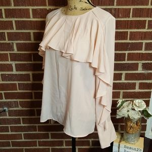 Trouve Blush Pink Ruffle Long Bell Sleeve Sheer Blouse Top Large Career Classy